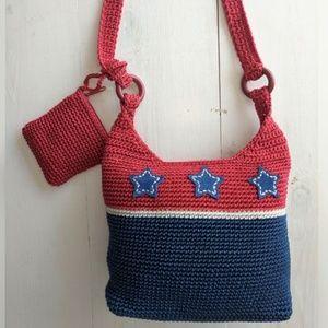 Handbags - Red, blue & white woven shoulder bag NWOT